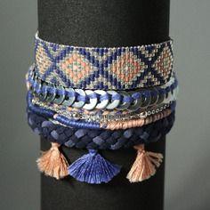 Manchette /  tissé perles miyuki / bracelet bresilien / bleu corail argent