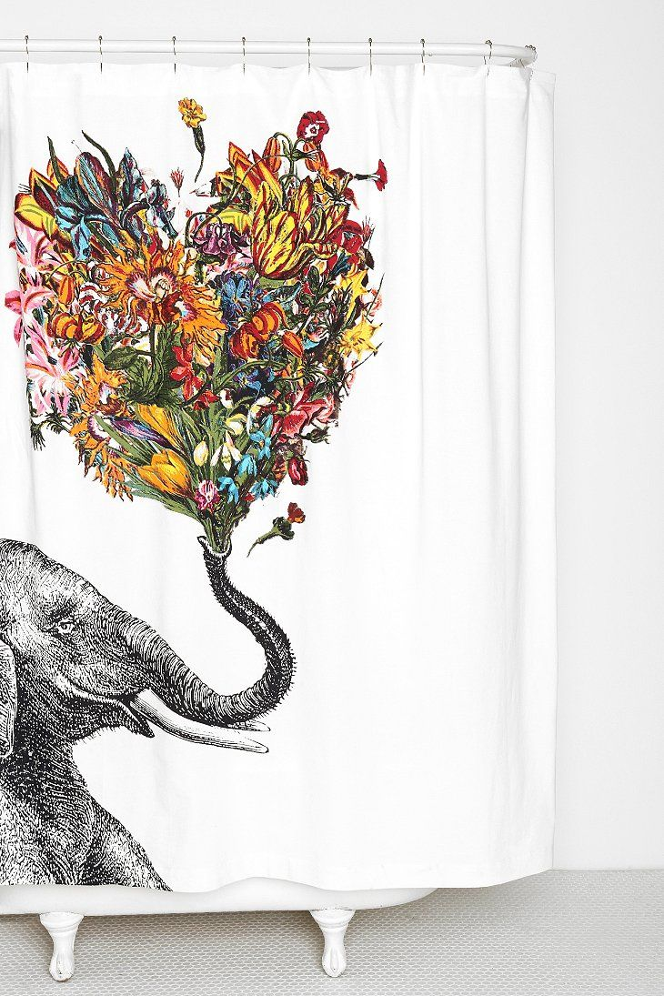 RococcoLA Happy Elephant Shower Curtain. So cool!