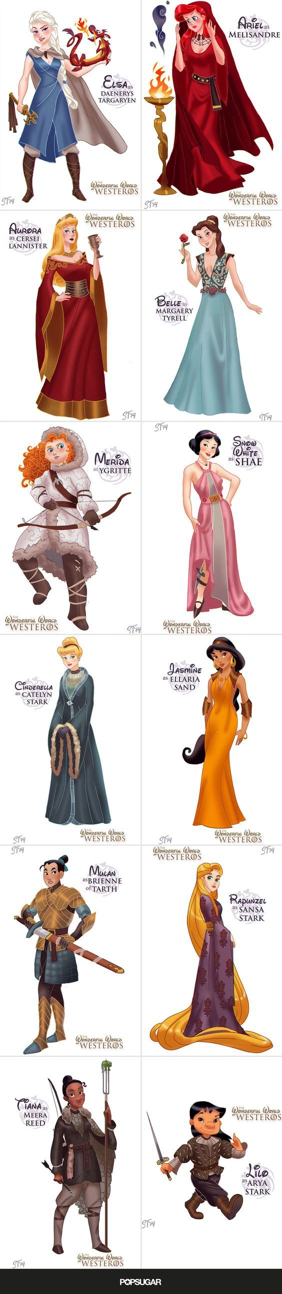 Disney Princesses as the Women of Game of Thrones: