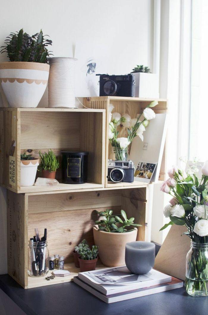 Regal für Zimmerpflanzen und Schreibtischzubehör Holzkisten bauen