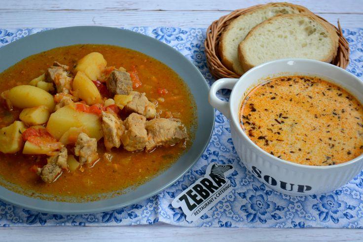 Ciorba de pui cu tarhon (400 ml) Gulas de porc (300 g)