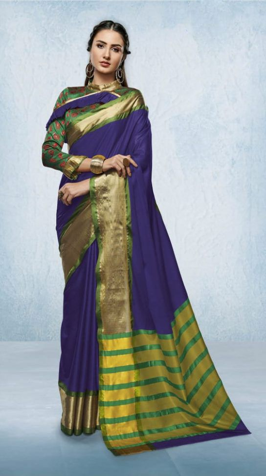ff87b1e83909d Ravishing Blue Color Traditional Wear Cotton Silk Saree. Find this Pin and  more on Saree Store  Buy Designer Sarees online at best prices ...