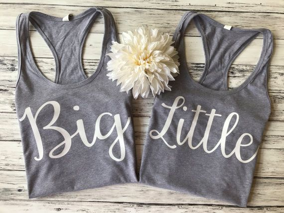 *Price includes a set of 2 tops*  Fun big and lil sorority tanks! Tops are heather gray with white font but see photos section for other color options! SIZING: Based on customer feedback, tanks run on the small side so if you have any concerns about sizing, I recommend ordering a size up. Image of fit/style is located in photos section. If it helps for reference: Im 510/140 lbs/34C bust and I wear a size medium in both tanks. RUSH SHIPPING AVAILABLE: Need your item guaranteed ...