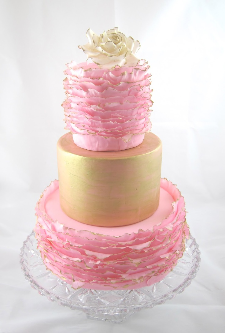 Cakegirl on the Run. Pink and gold ruffled birthday cake inspired by Maggie Austin.