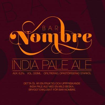 Bar Nombre IPA / Bar Nombre IPA har en tydlig humlearom med tropiska frukter, tallbarr och citrus. Beskan är markerad men balanserad mot den lätta maltprofilen. Den har något lägre alkoholstyrka än vad som är typiskt för stilen för att passa bättre som måltidsdryck men full av karaktär och smak. Ett lättdrucket, torrt och krispigt öl för alla tillfällen. Bar Nombre IPA bryggs exklusivt för och finns endast till försäljning på Bar Nombre.
