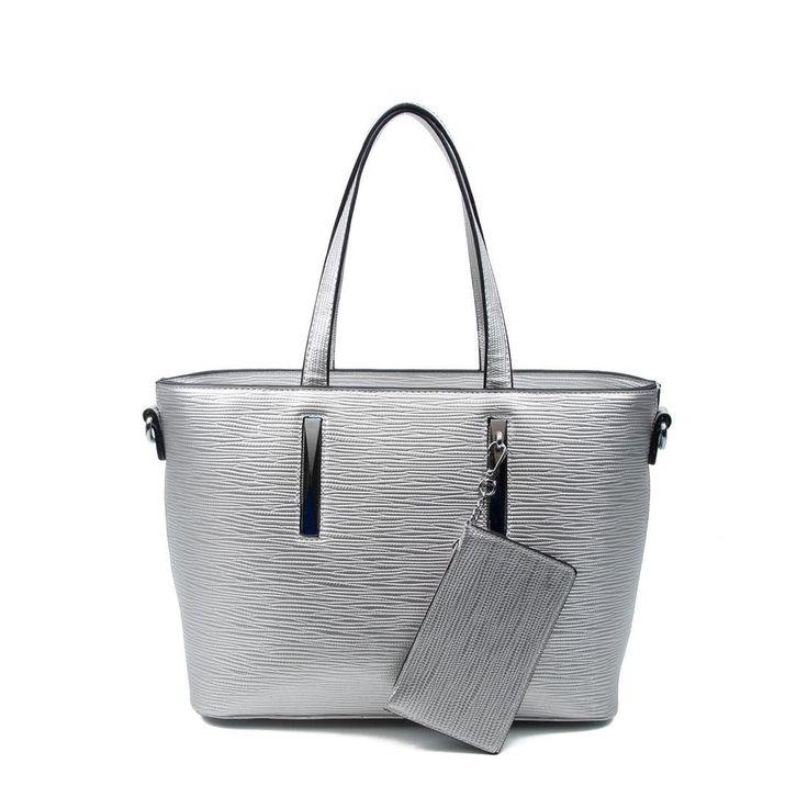 OBC Damen Business Tasche Shopper Workbag Schultertasche Umhängetasche Handtasche Henkeltasche Silber – Susanne Kurasch