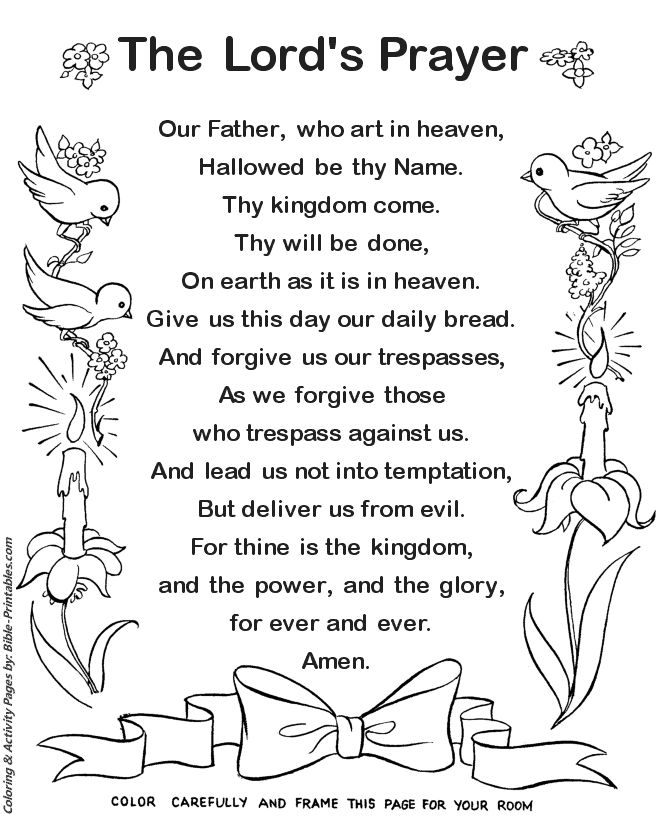 The Lords Prayer Coloring Page 1 | Prayers for children ...
