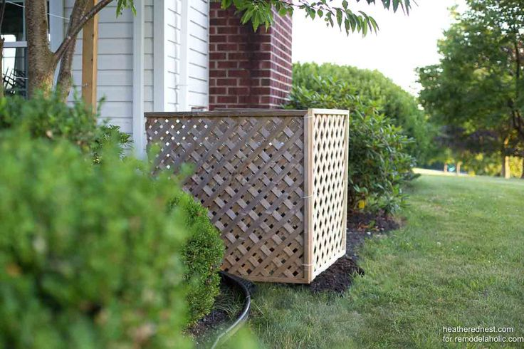 Hide your outdoor AC unit with this quick and easy DIY air condition screen built from lattice. It's non-permanent and easy to move for access, a great solution for renters or anyone who needs a quick camouflage job. Easy weekend project to improve your curb appeal and yard area.