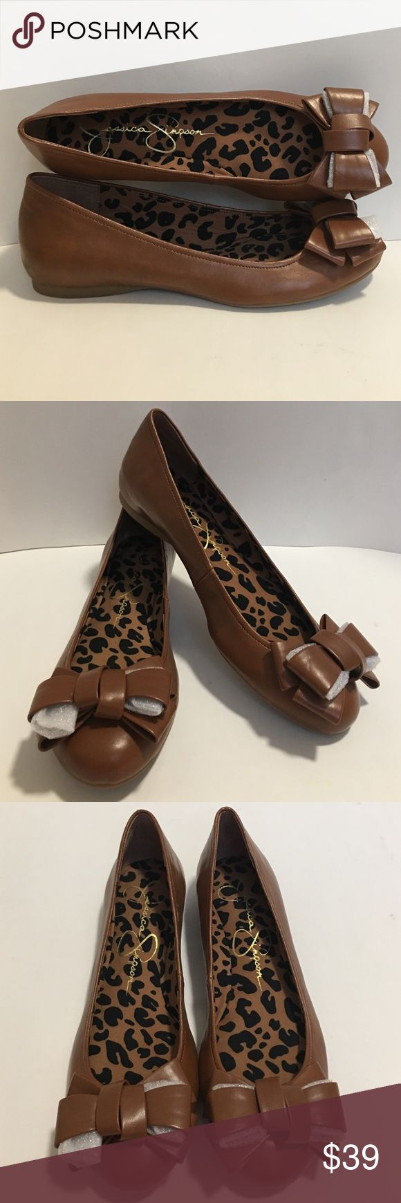 Jessica Simpson Flats Ballerina Round Toe Brown New! w/o box Jessica Simpson Muharram Flats: Brown. Bow Appliqué. Lightly Cushioned Footbed. Round Toe. Slip On. *Size marking on the bottom, right shoe, but never worn* Jessica Simpson Shoes Flats & Loafers