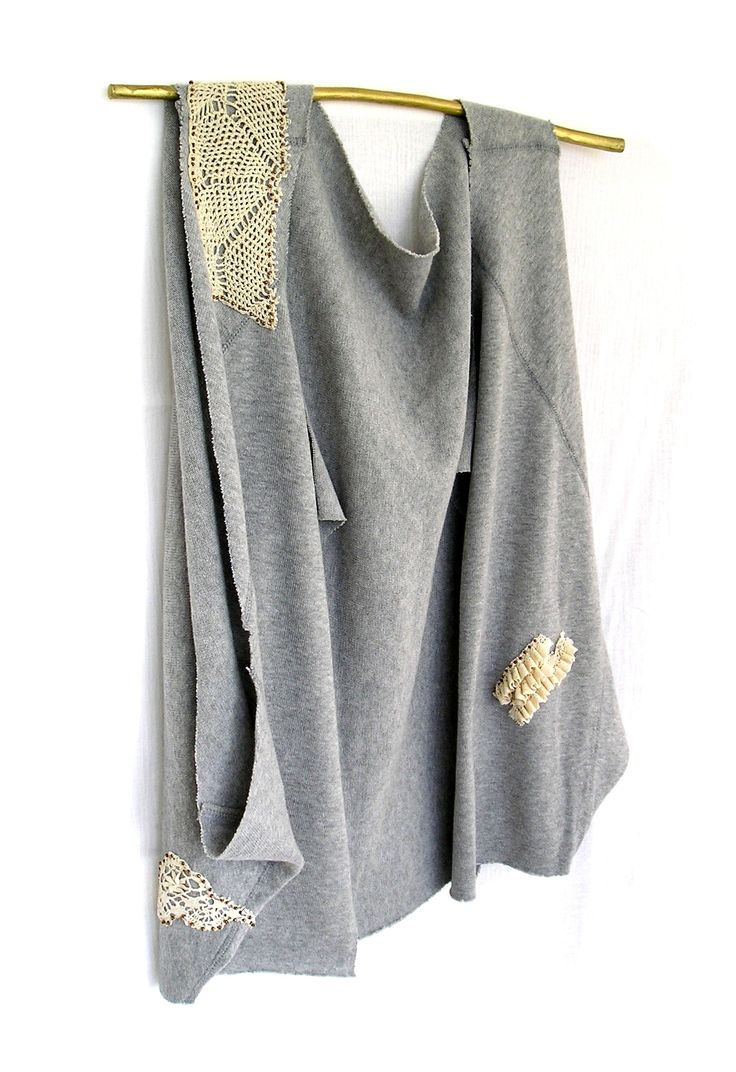 Reinvented sweater, with handmade vintage lace applications. Gray, beige, neutral, seed beads.
