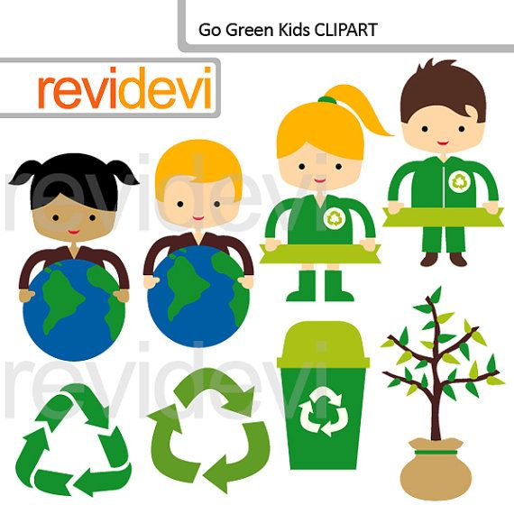 Recycle and love the earth clipart  Go Green Kids by revidevi, $5.95