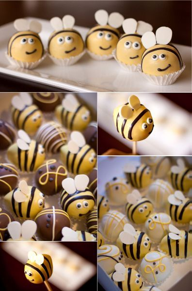 Bumble Bee Cake Balls. This website has tons of cute cake ball pictures.