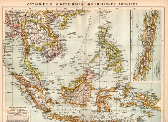 Southeast Asia 1885 Antique Print Antique Engraving by Craftissimo, €14.95