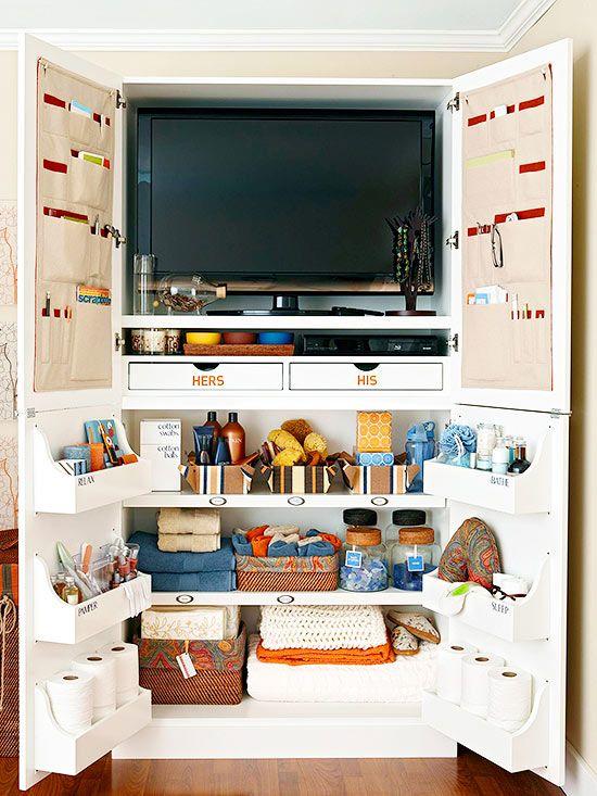 Media cabinet storage with extra organization