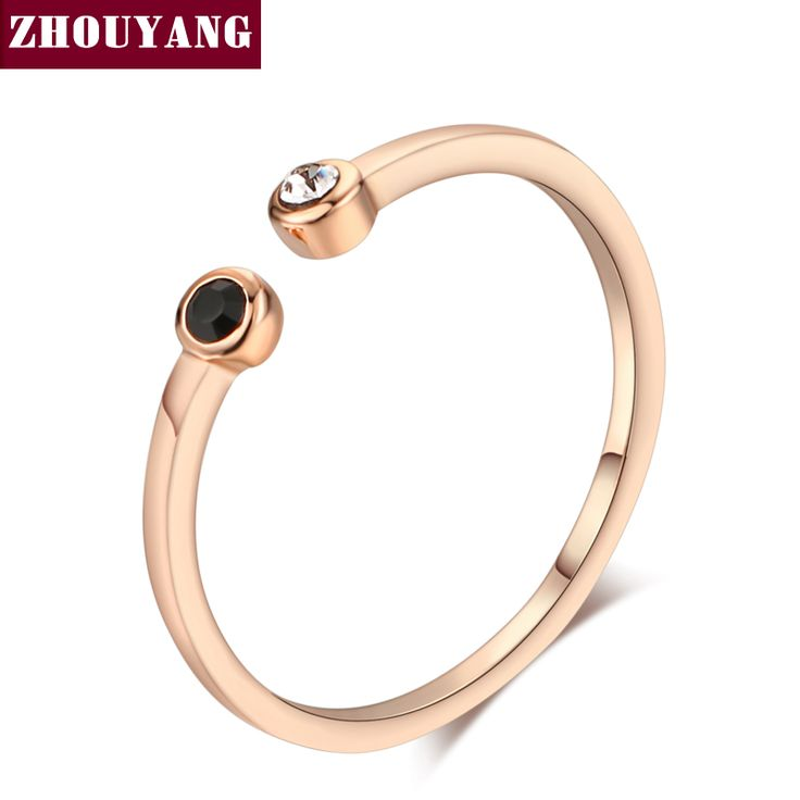 Simple Lovely Style Mini Crystal  Rose Gold Plated Ring Jewelry For Girl Women Party Full Sizes Wholesale ZYR165