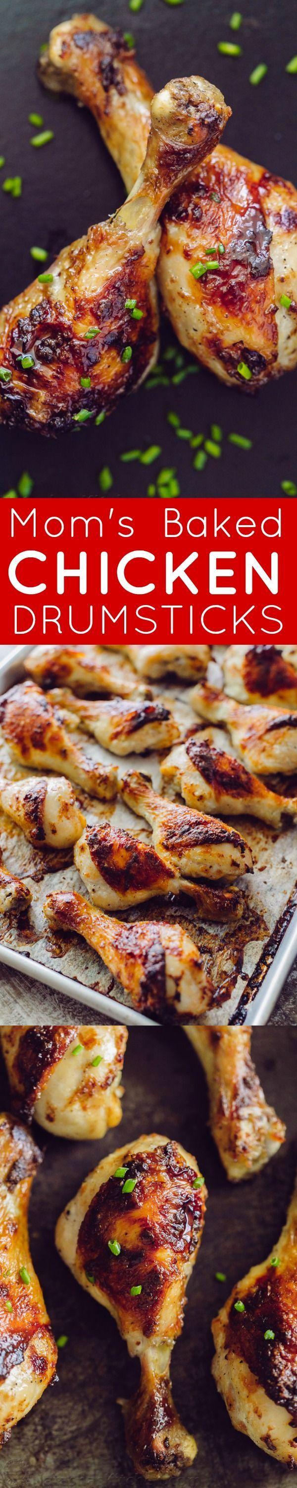 Tender, juicy baked chicken drumsticks with a crisp, salty skin. Marinade has only 4 ingredients. Mom's method makes these chicken drumsticks finger-lickin' good! | http://natashaskitchen.com