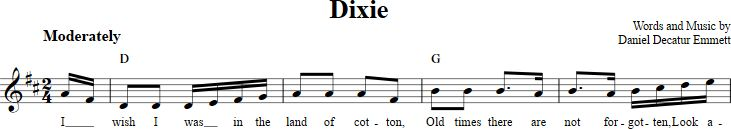 Dixie sheet music with chords and lyrics for B-flat instruments including clarinet, trumpet, and more. View the whole song at http://chordzone.com/music/b-flat/dixie/
