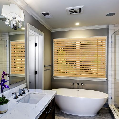 majestic wooden blinds for bathrooms. Custom made faux wood blind in a light oak colour with grain effect which  is 41 best Blinds Bathroom images on Pinterest Faux blinds