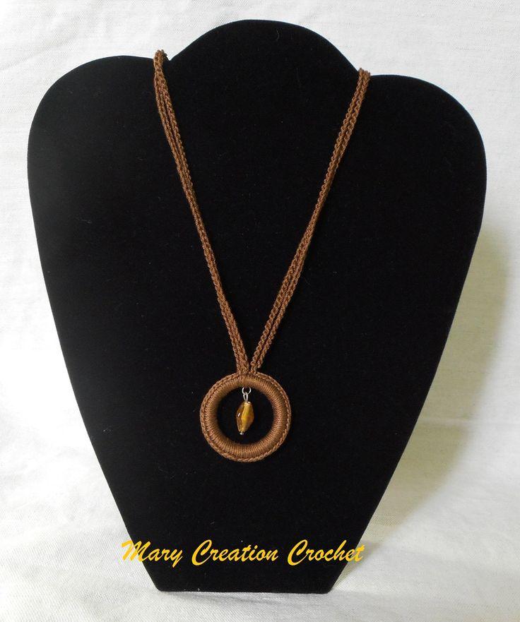 Collana uncinetto 2 fili catenelle cotone marrone con ciondolo a cerchio e perla ambra di MaryCreationCrochet su Etsy