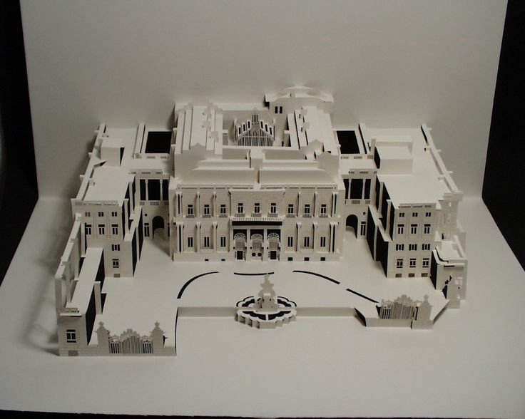 """Palicio del Marques de Salamanca"" - 3-D cut paper art by Ingrid Siliakus;  cut from one sheet of paper;  30 x 45 x 30  (2007);  This is the ""Palace in which the office of Anida (Madrid) is located."""