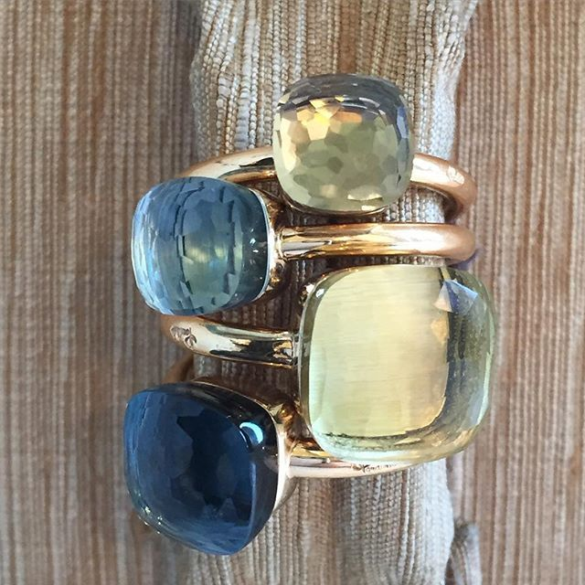 Inspired by the blues and greens of this beautiful spring day! Pomellato Nudo rings can be stacked for a layered look or can be stunning worn alone.  Shop: www.amandapinsonjewlery.com Ring: 423.209.2828