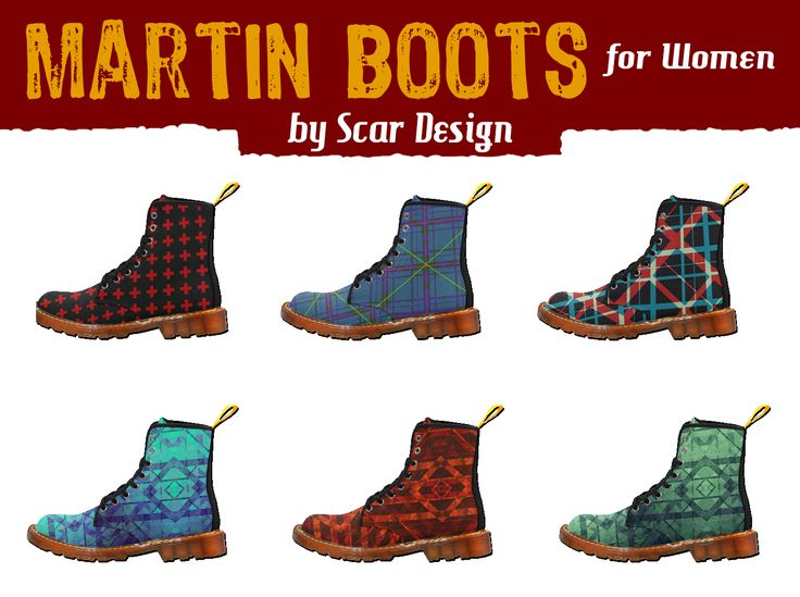 Cool Martin Boots for Women by Scar Design #martinboots #womensboots #boots #rockboots #coolboots #artsadd #buyshoes #buyboots #scardesign #fashion #style #giftsforher #geometricdesign #womensfashion #rockstyle