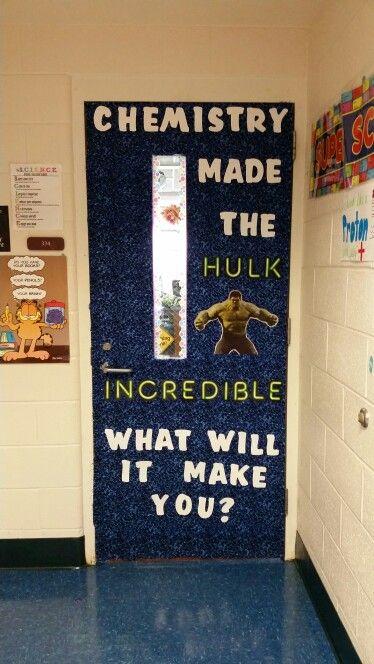 My Hulk/superhero chemistry door!