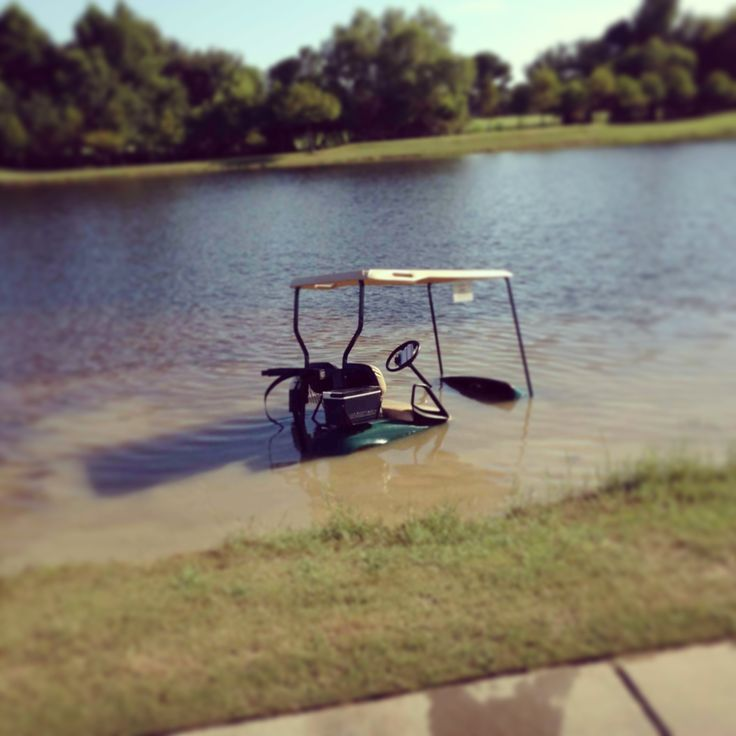I think this is my hubby's golf cart - from the day he became known at the barefoot golfer. Feet got wet so he finished play without them - and won the round! Re-pinned by www.apebrushes.com. Learn more about the best golf course maintenance equipment!