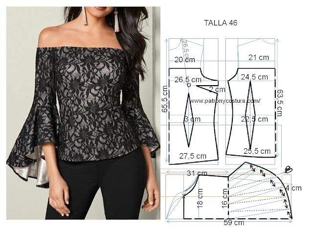 blusa con manga de capa asimétrica Diy Talla 46 | PATRÓN Y COSTURA | Bloglovin…