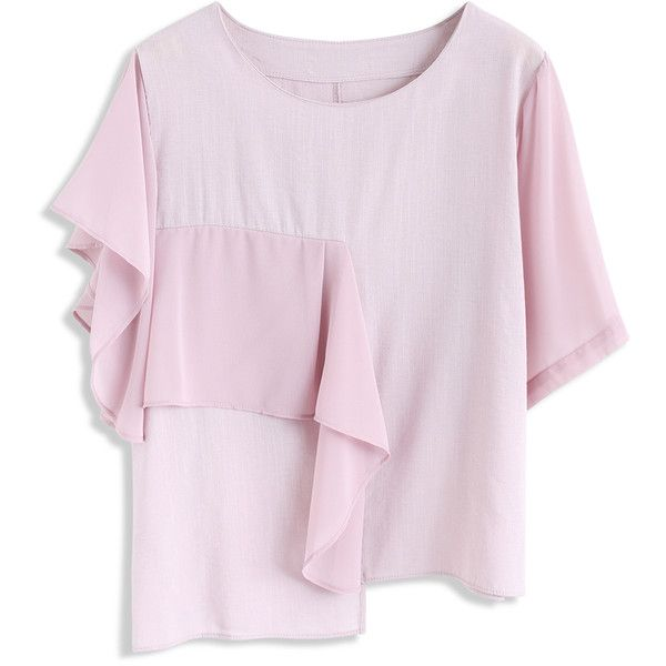 Chicwish What Makes You Chic Smock Top in Pink (96.055 COP) ❤ liked on Polyvore featuring tops, pink, smock top, smocked top, pink tops and pink slip