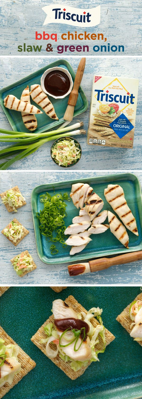BBQ fan? So are we! Top your favorite TRISCUIT Crackers with a scoop of coleslaw and sliced grilled chicken, spoon on a little barbecue sauce, then sprinkle with chopped green onions for the finishing touch. It's like a picnic in your mouth! Bonus: this is a great recipe to make use of leftover chicken!