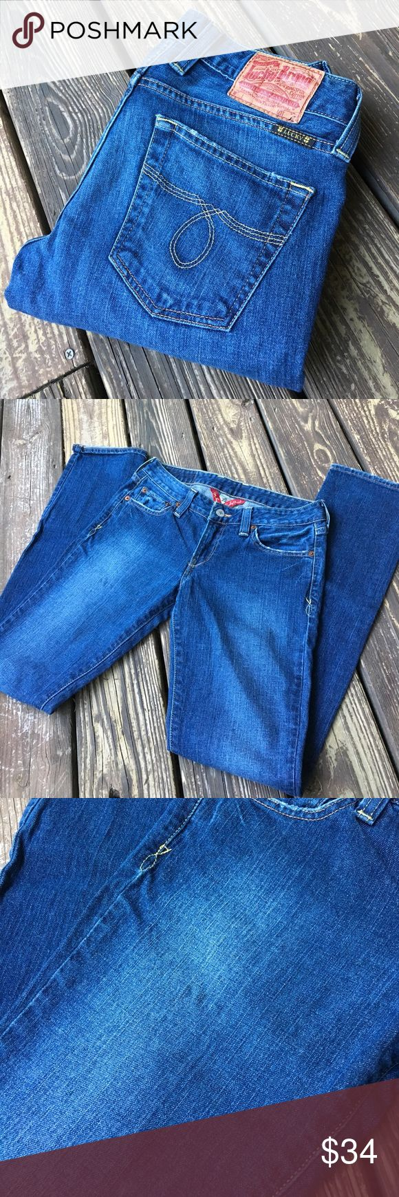 Luck Brand Lola Straight Leg Jeans Great pair of straight leg jeans. 99% cotton 1% spandex.  Has two small stains as shown in photo.  Does not really take away from the jeans.  Size 2.  waist measured flat 14 1/2 inches, rise 7 inches, inseam 33 inches.  PT307 Lucky Brand Jeans Straight Leg