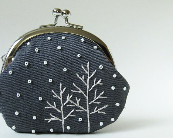 Trees in snow coin purse by oktak on Etsy, $42.00