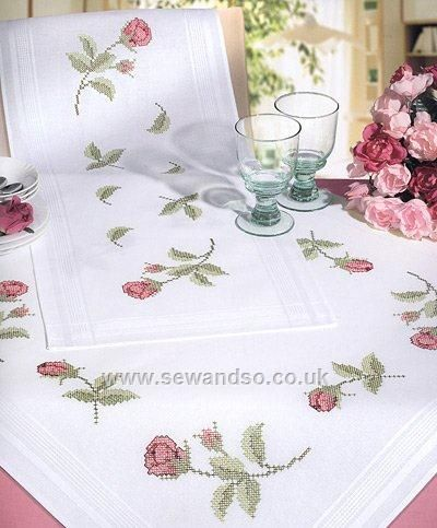 Buy Rosebuds Cross Stitch Tablecloth, 80 x 80cm Stamped Cross Stitch Kit Online at www.sewandso.co.uk