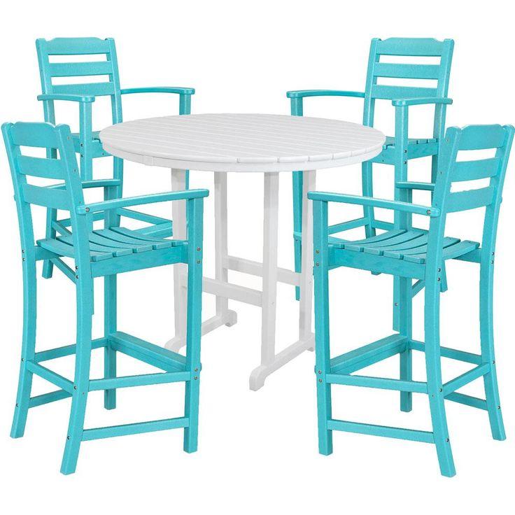 Hanover Nassau 5-Piece All-Weather Bar Height Outdoor Dining Set in Aruba Blue