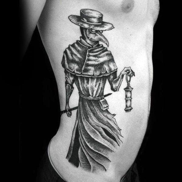 Guys Plague Doctor Tattoo On Rib Cage Side
