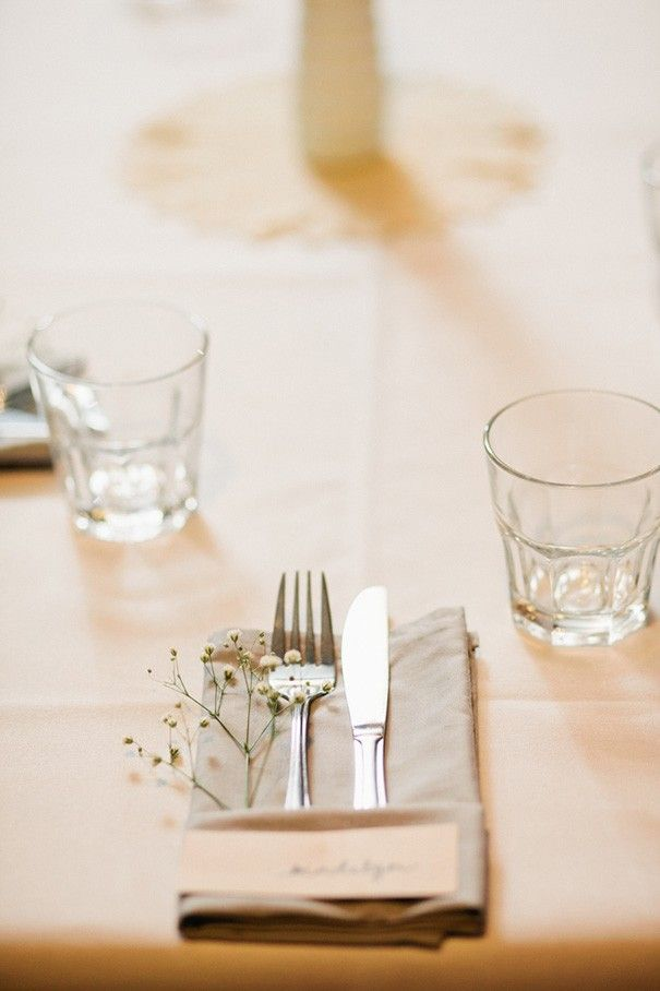 Baby's breath in with the cutlery