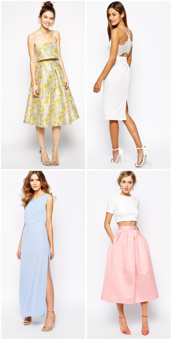 We are in love with these 4 frocks that represent all that's nice and sweet about the upcoming season. They're gonna get you in the mood for spring in a second: the floral dressese, the little white dress, the pastel dress and the pastel midi skirt.