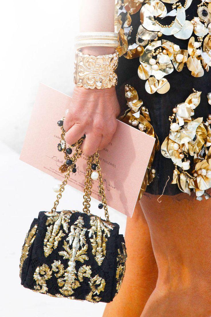 "Bag: Marni Embellished Clutch, $1,150; saksfifthavenue.com  Jimmy Choo ""Canisa"" Gold Sequin Clutch, $765; shirise.com  Gold cuff: Yves Saint Laurent Arty Gold Plated Cuff, $640; net-a-porter.com  Stephan & Co. Stud Cuff, $12; nordstrom.com"
