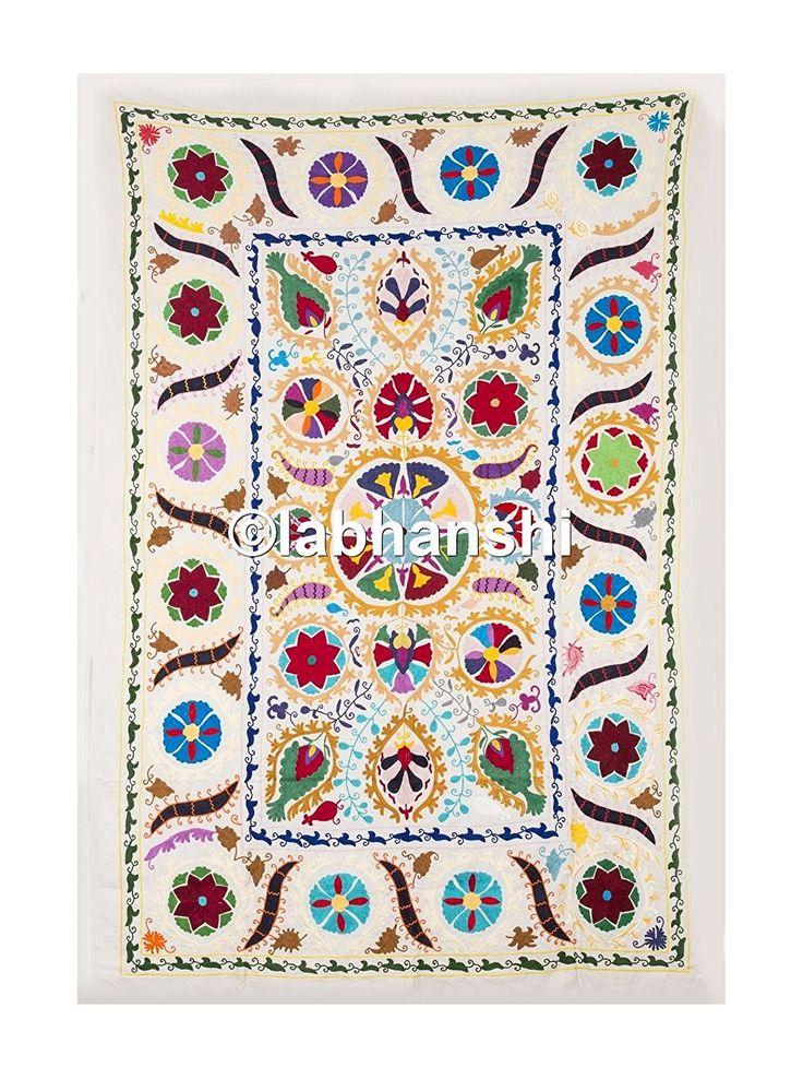 Vintage soie tissu antique suzani tapisserie couvre lit for Tapisserie murale de luxe