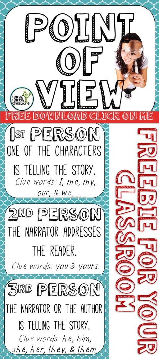 Free! Point of view posters. 1st, 2nd, & 3rd perspective. Great to use with reading activities.