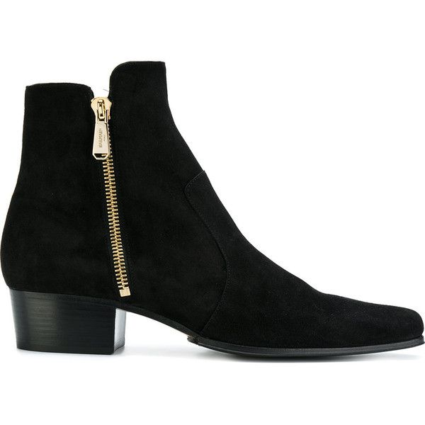 Balmain Anthos ankle boots (53.015 RUB) ❤ liked on Polyvore featuring men's fashion, men's shoes, men's boots, black, mens leather boots, mens ankle cowboy boots, mens black boots, mens side zipper cowboy boots and mens black ankle boots