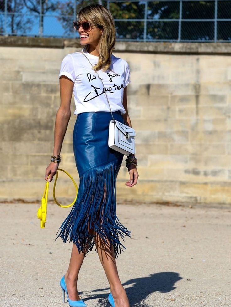 Fringe Skirt Street Style, photo from toovia