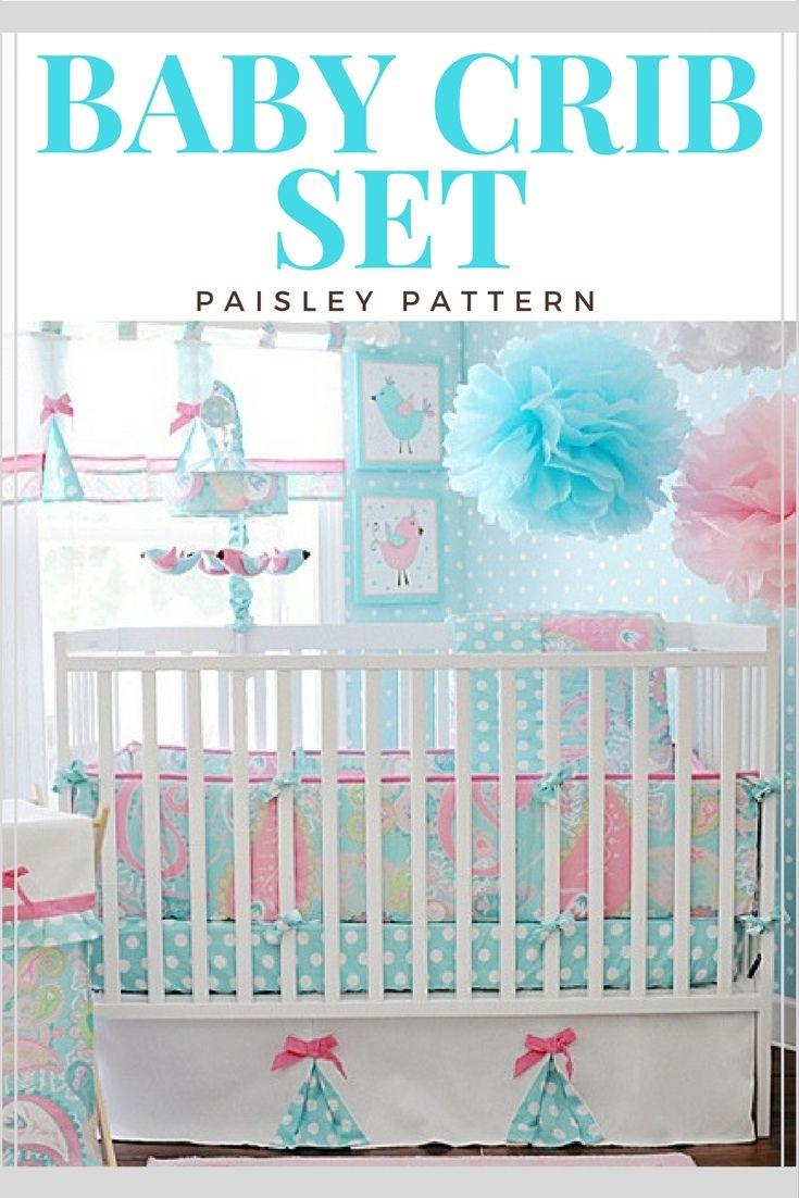LOVE!! Brighten your baby's crib set with this Pixie Baby Crib Bumper by My Baby Sam. The fun paisley pattern features pink and aqua hues with aqua polka-dot ties to complement your baby's bedding and décor. #affiliate #nurserydecor #baby
