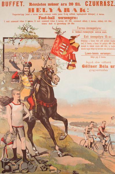 2. foot ball verseny lawn tennis vintage poster 1902 plak%c3%a1t