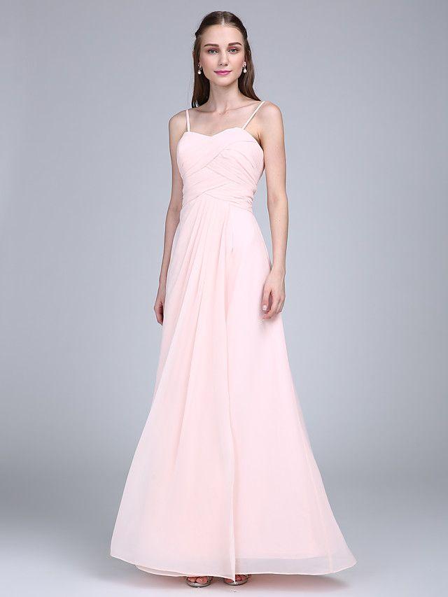 Μακρύ Σιφόν Φόρεμα Παρανύμφων - Ίσια Γραμμή Λεπτές Τιράντες με Χιαστί - EUR €78.39