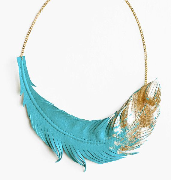 Feather Necklace Leather Feather Jewelry by LoveAtFirstBlush, $65.00