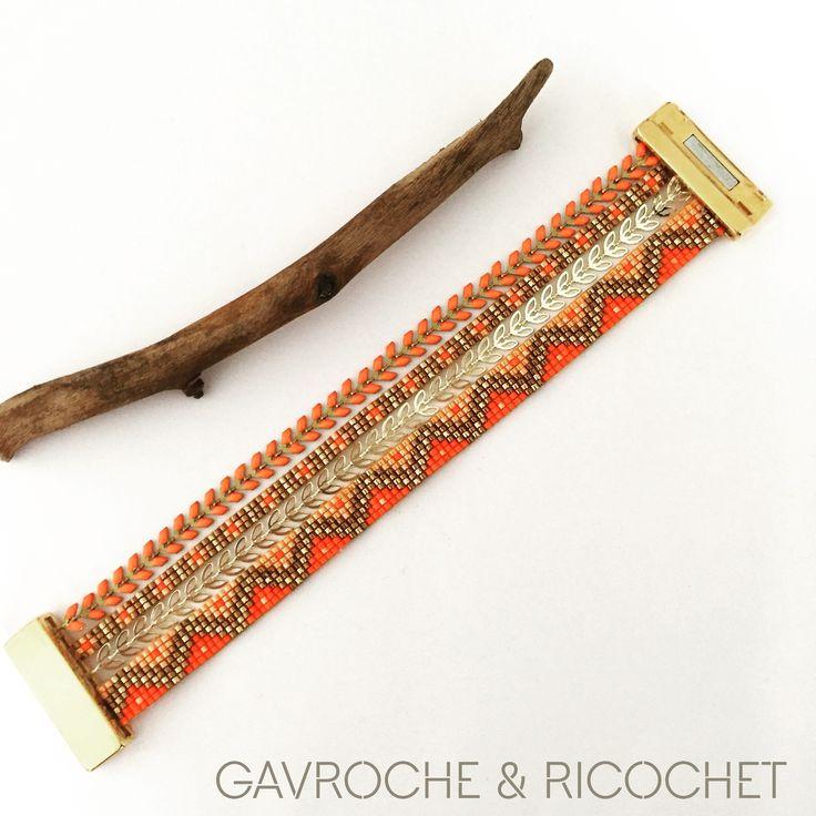 Bracelet manchette multirangs en Perles miyuki et chaînettes orange et or façon Hipanema