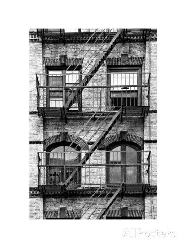 Fire Escape, Stairway on Manhattan Building, New York, White Frame, Full Size Photography