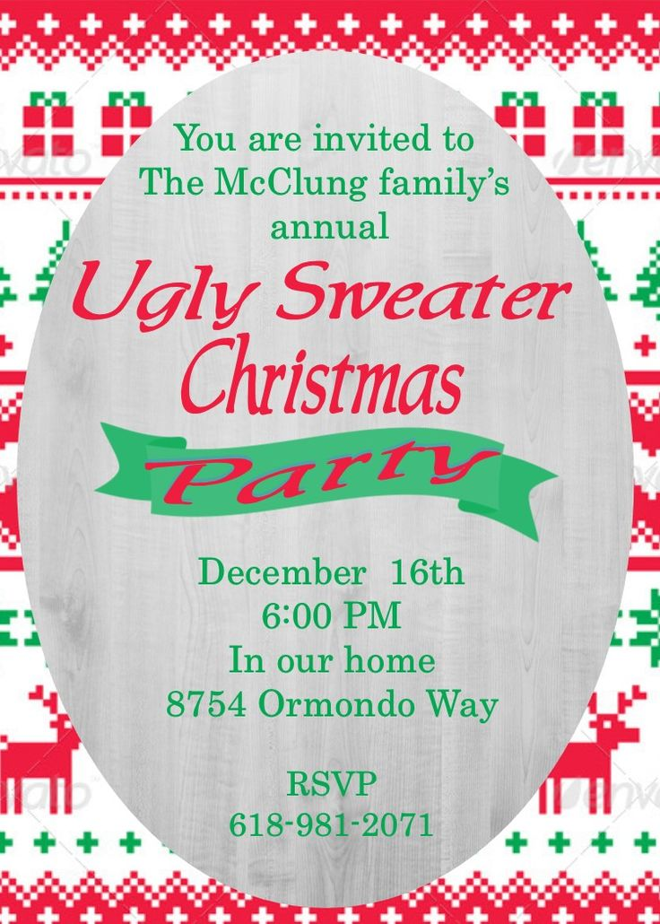 11 best Christmas Ugly Sweater Party Invitations images on ...